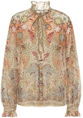 Etro Printed cotton and silk blouse