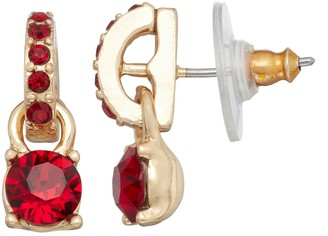Dana Buchman Gold Tone Drop Earrings with Swarovski Crystals