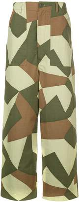 Junya Watanabe geometric print trousers