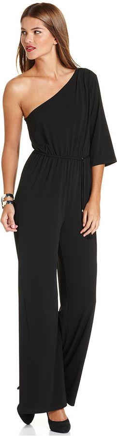 Spense Petite Jumpsuit, One-Shoulder Belted