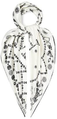 Alexander McQueen Jewel-print Silk Satin-twill Scarf - White Black