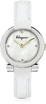 Salvatore Ferragamo Gancino Stainless Steel and Diamonds Women's Watch w/White Croco Embossed Strap
