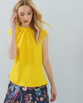 Ted Baker Pleated High Neck Top Yellow