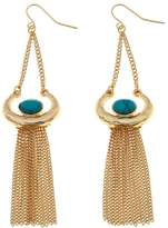 "RJ Graziano Playing it Cool"" Turquoise-Color Stone Fringe Tassel Earrings"