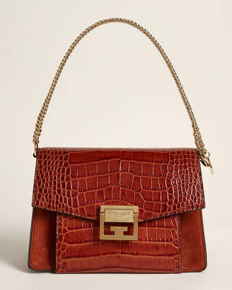 Givenchy Cognac GV3 Small Croc-Embossed Leather Shoulder Bag