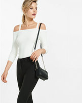 Express ribbed cold shoulder sweater