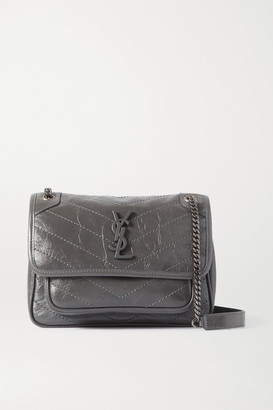 Saint Laurent Niki Baby Mini Crinkled Glossed-leather Shoulder Bag - Dark gray