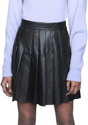 Maje Jabaki Pleated Leather Mini Skirt
