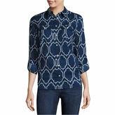 ST. JOHN'S BAY St. John's Bay Long Sleeve Button-Front Shirt- Talls