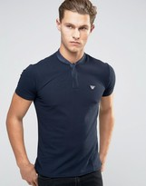 Armani Jeans Polo Shirt With Denim Bomber Neck In Navy