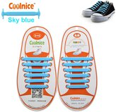 Coolnice® No Tie Shoelaces Lazy Shoelaces for Kids Funny DIY 12pcs- Elastic Stretch Environmentally Safe Waterproof Silicon Wipe Clean