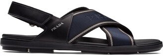 Prada Brushed Crossover Strap Sandals