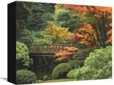 Art.com Moon Bridge in Autumn: Portland Japanese Garden, Portland, Oregon, USA Stretched Canvas Print By Michel Hersen - 23x30 cm