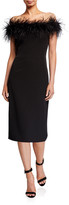 Milly Off-the-Shoulder Feather Bodice Cady Sheath Dress