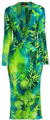 Versace Jungle-Print Deep V-Neck Midi Dress
