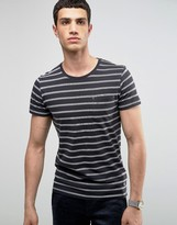 Selected Crew Neck Pocket T-Shirt with Stripe