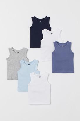 H&M 6-pack Cotton Tank Tops - Blue