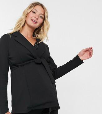 ASOS DESIGN Maternity jersey wrap suit blazer in black