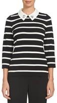 CeCe Women's Embellished Collar Stripe Cotton Sweater