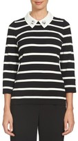 CeCe Women's Embellished Collar Stripe Sweater