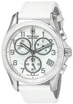 Victorinox Women's 'Chrono Classic' Swiss Quartz Stainless Steel and Leather Casual Watch, Color:White (Model: 241418)