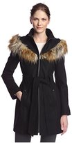 Rachel Roy Women's Faux Fur Trimmed Coat