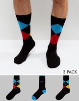 Pringle Socks In 3 Pack Argyle Black