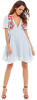 Gianni Bini Shia V-Neck Embroidered A-Line Stripe Dress