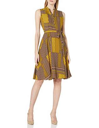 Nanette Lepore Nanette Women's Sleeveless Pintuck Shirtdress with Front Placket & Self Sash Belt