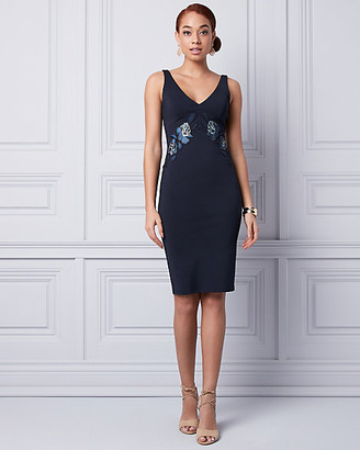 Le Château Embroidered Ponte V-Neck Dress
