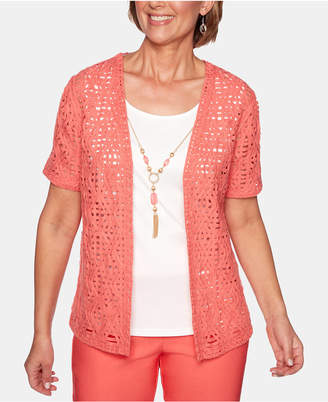 Alfred Dunner Coastal Drive Lace Open-Front Cotton Cardigan