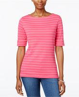 Karen Scott Elbow-Sleeve Striped Top, Only at Macy's