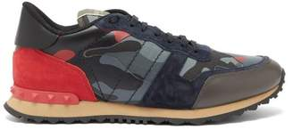 Valentino Rockrunner Camouflage Leather Trainers - Mens - Blue Multi