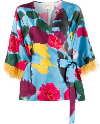 La DoubleJ x Mantero Prom Azzurro print kimono top