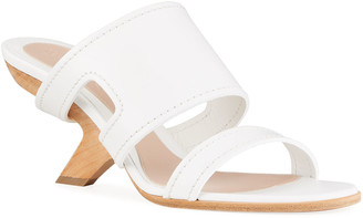 Alexander McQueen Leather Slide Sandals with Wooden Heel