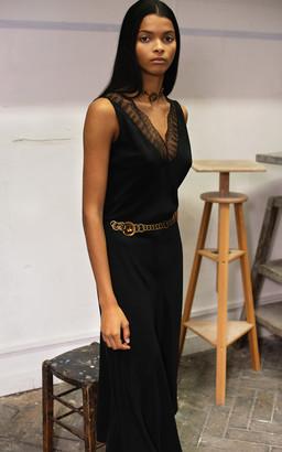 Alexandre Blanc Lace-Trimmed Bias-Cut Silk Dress