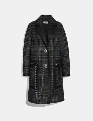 Coach Tailored Wool Coat With Leather Detail