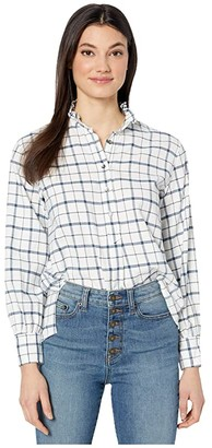 La Vie Rebecca Taylor Long Sleeve Brushed Check Top (Creamsicle) Women's Clothing