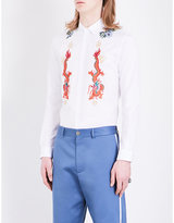 Gucci Floral-embroidered Regular-fit Cotton Shirt