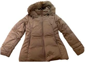 Moncler Fur Hood Gold Polyester Coats