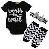 ONE'S 3PCS Baby Girls Cute Worth The Wait Bodysuit and Socks Outfit with Headband (0-3 Months)