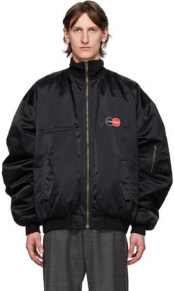 Balenciaga Black Uniform Logo Bomber Jacket