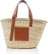 Loewe Leather-Trimmed Woven Raffia Basket Bag