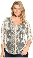 Lucky Brand Plus Size Placed Print Top Women's Clothing