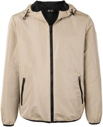 No.21 Contrasting-Trim Hooded Jacket