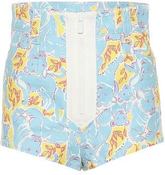 Miu Miu Printed stretch cotton shorts