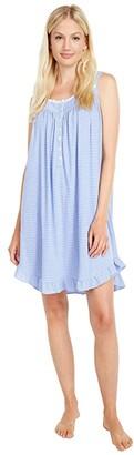 Eileen West Cotton Polyester Sleeveless Short Chemise (Dark Blue Stripe) Women's Pajama