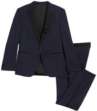 BOSS Helward Navy Two Button Peak Lapel Wool Tuxedo