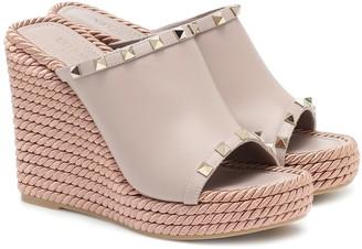 Valentino Rockstud platform wedge sandals