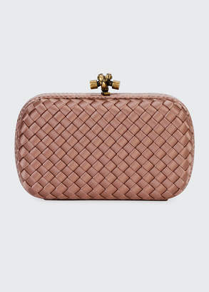 Bottega Veneta Woven Satin Chain Knot Clutch Bag